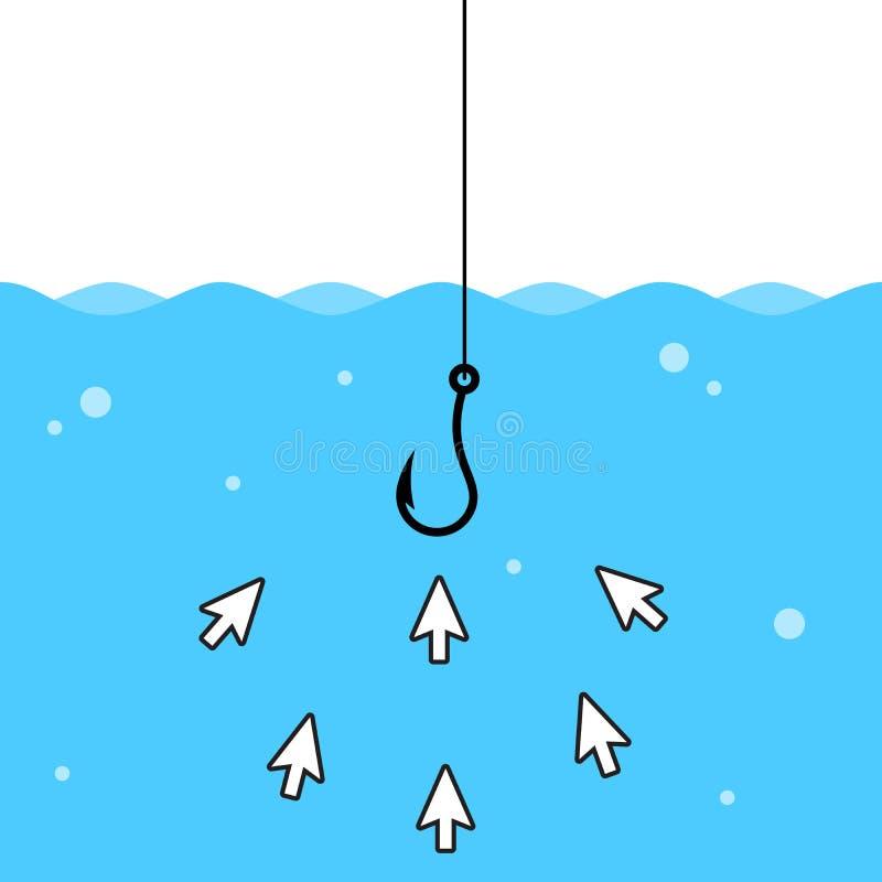 Haz clic en cebo dentro del agua Ilustración de vectores aislados libre illustration