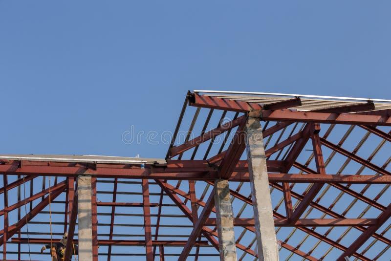 Haz De Acero Estructural En El Tejado De Construir Constructi ...