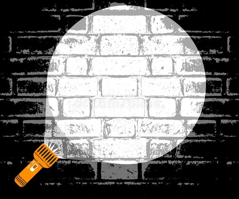 Haz de la linterna de luz dirigido en la pared El concepto de un detective que busca en un cuarto oscuro La policía coge a un cri ilustración del vector