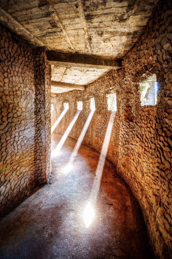 Haz de Sun del parque de Vientián Laos Buda en Dusty Temple imagen de archivo libre de regalías