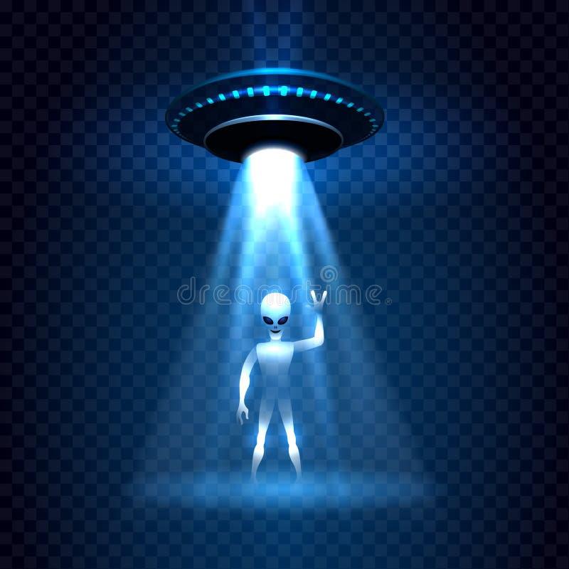 Haz luminoso de la invasión del UFO con el extranjero ilustración del vector