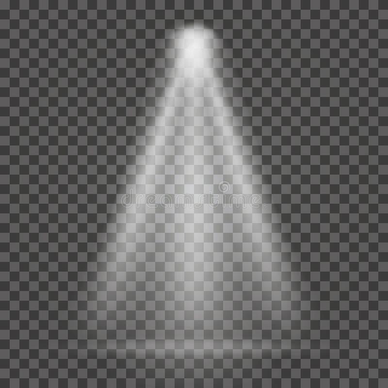 Haz luminoso en fondo transparente Haz luminoso del proyector brillante ilustración del vector