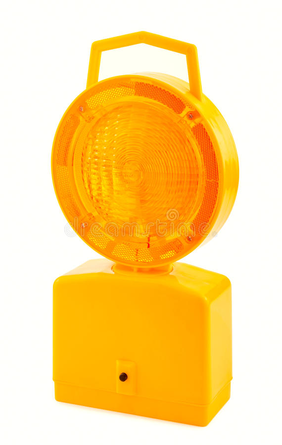 Hazard Light. Solar Powered Hazard Light on isolated white background royalty free stock image