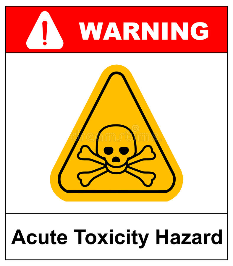 Hazard pictogram, acute toxicity. Vector illustration. Hazard pictogram, acute toxicity hazard symbol. Vector banner for industrial. Yellow triangle isolated on vector illustration