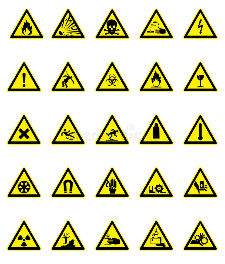 Download Hazard signs set stock vector. Image of danger, radiation - 13242890
