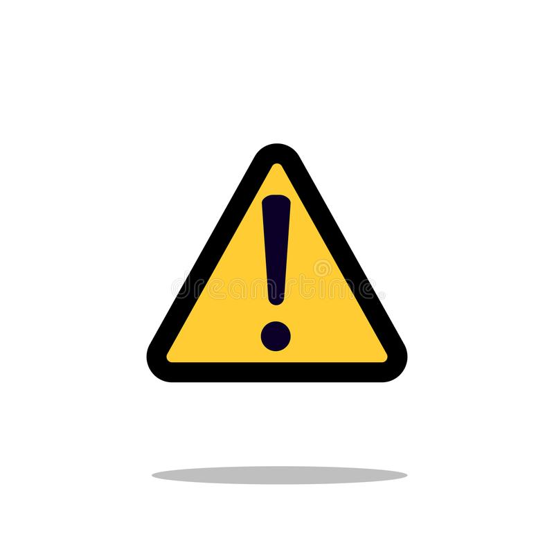 Hazard warning attention sign with exclamation mark symbol icon vector illustration royalty free illustration