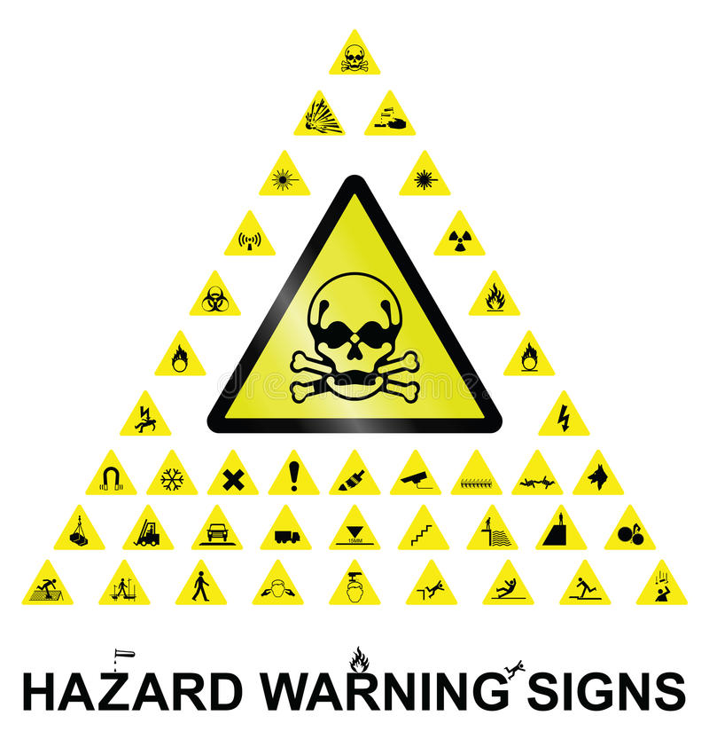 Hazard Warning Signs. Make your own hazard warning sign with main central sign and forty related hazard warning graphics on white background stock illustration
