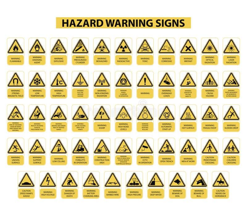 Hazard warning signs. Set of hazard warning signs on white background