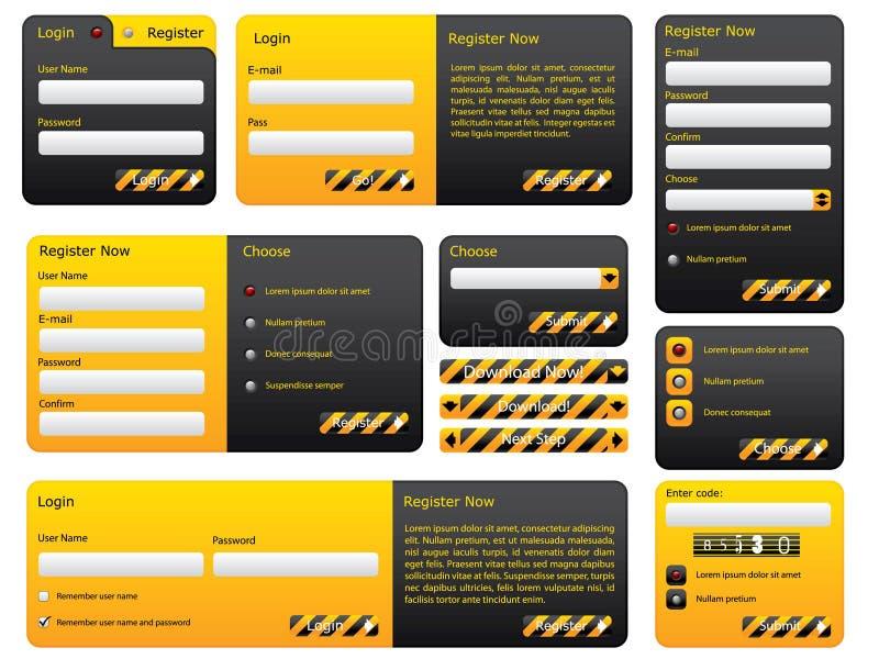 Hazard website form set royalty free illustration