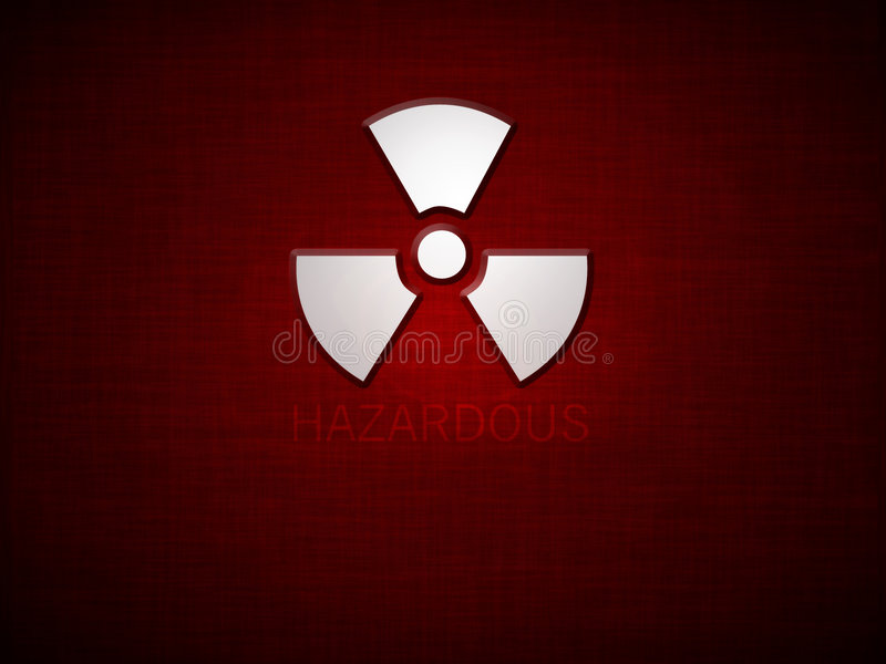 Hazardous. Red grunge background with sign and text saying hazardous stock illustration