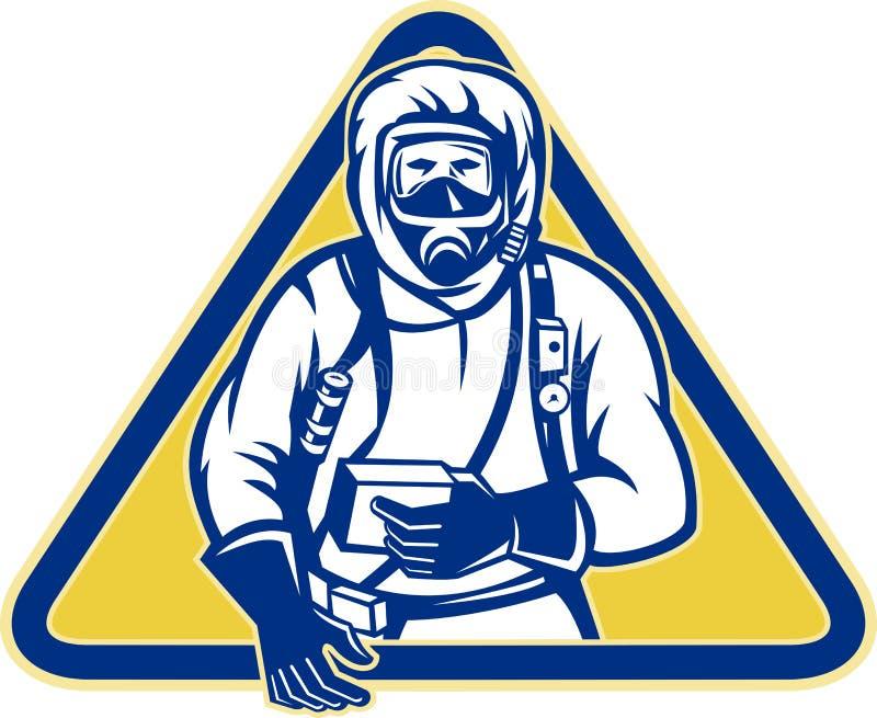 Hazardous Chemical HazChem Suit. Illustration of a worker wearing a hazardous chemical hazchem suit facing front set inside triangle royalty free illustration