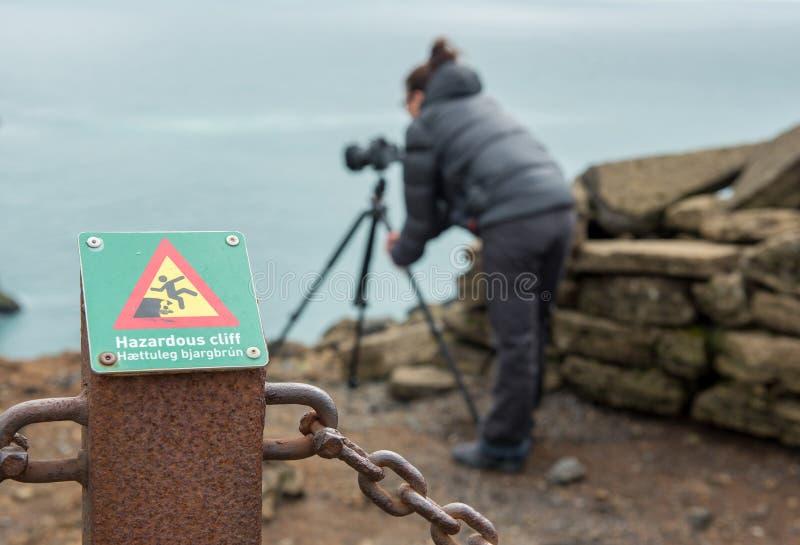 Hazardous cliff sign in Iceland stock image