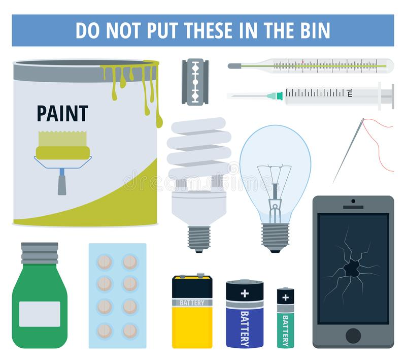 Hazardous or dangerous waste objects that to be collected in special recycling centers. Vector illustration vector illustration