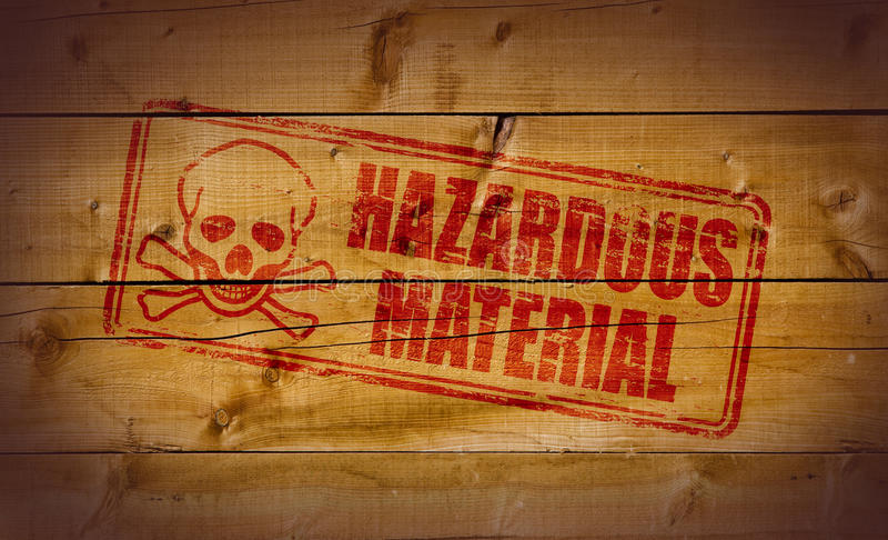 Hazardous Material stamp. On wooden background royalty free illustration