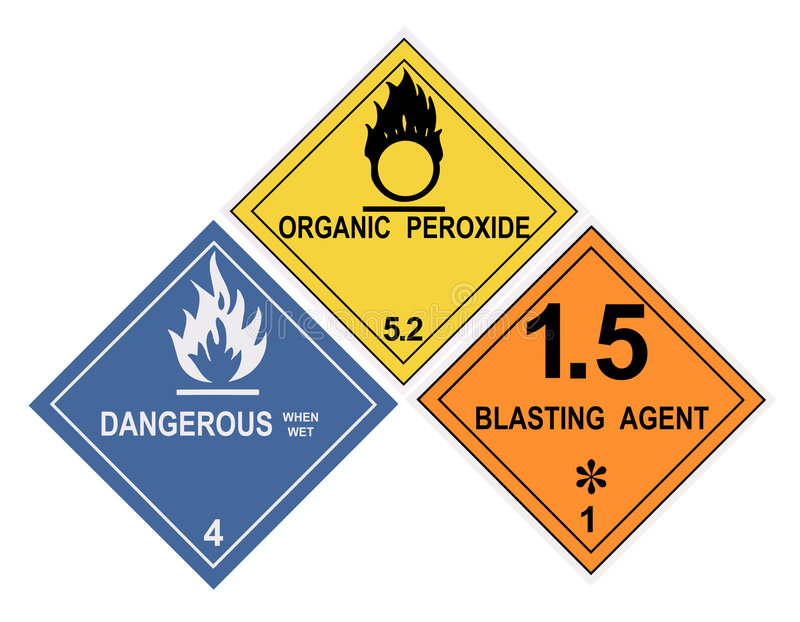 Hazardous Material Warning Labels. United States Department of Transportation hazardous material warning labels isolated on white royalty free illustration