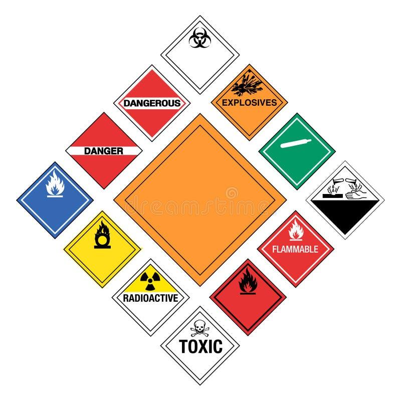 Hazardous Signs. Set of major Hazardous Signs royalty free illustration