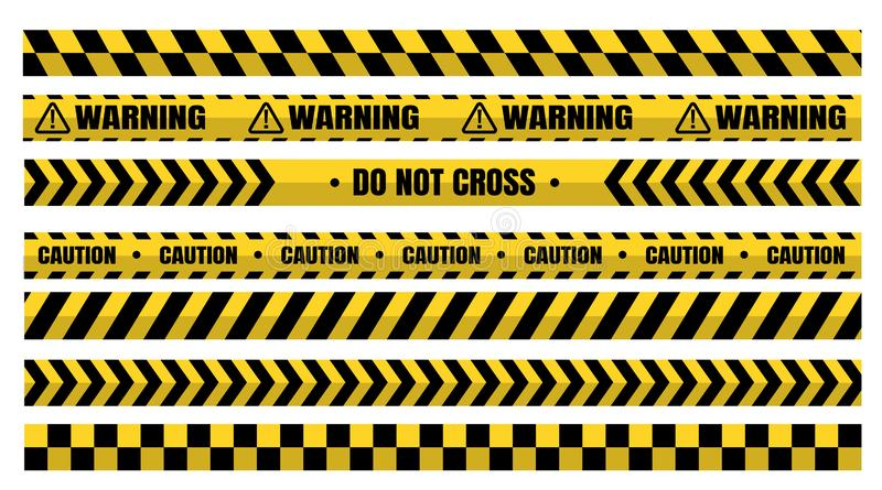 Hazardous warning tape sets must be careful for construction and crime.  vector illustration