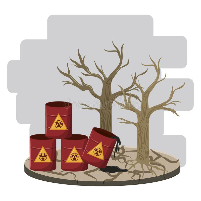 Hazardous waste and dead tree. Icon cartoon vector illustration graphic design vector illustration