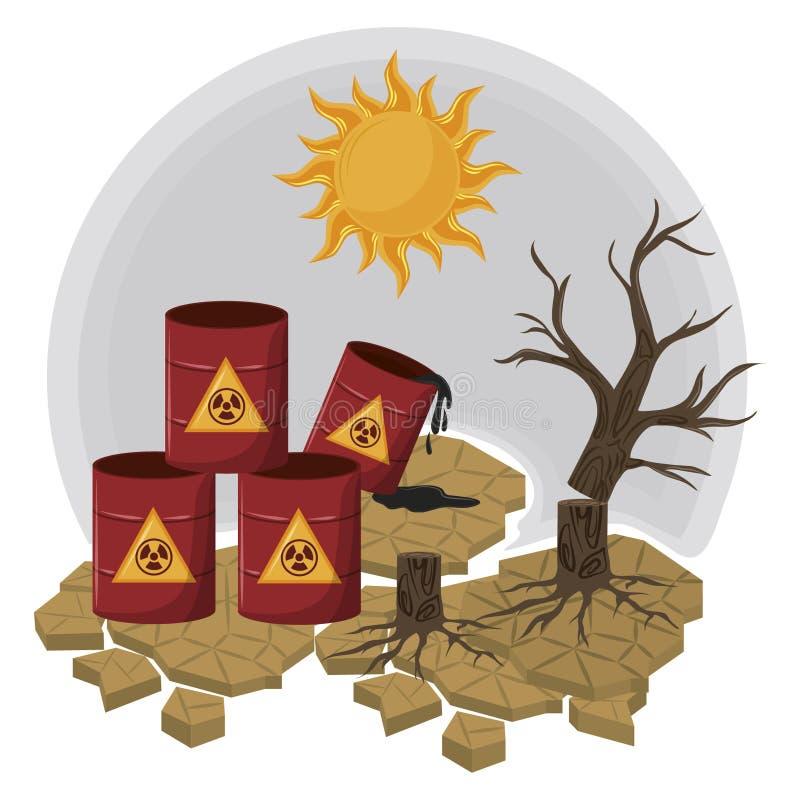Hazardous waste and dead tree. With sun icon cartoon vector illustration graphic design vector illustration