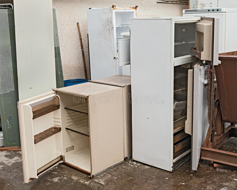 Hazardous waste - fridges dump stock photo