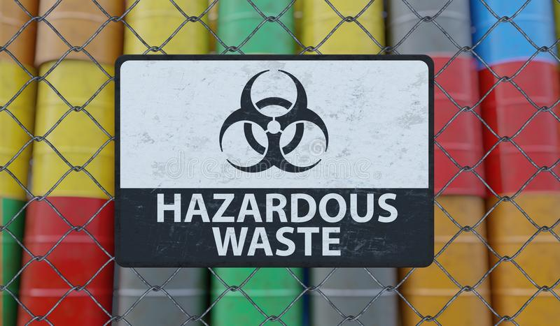 Hazardous waste sign on chain link fence. Oil barrels in background. 3D rendered illustration.  vector illustration