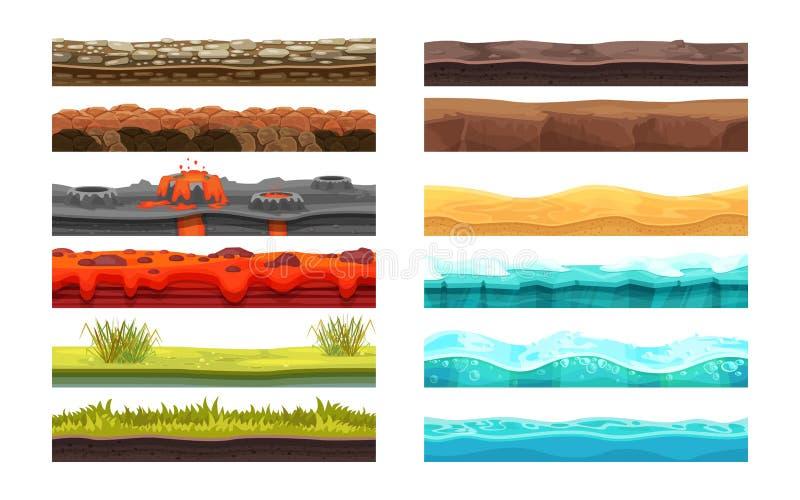 Hazardu środowisko: krajobraz, otaczania Ziemia, ziemia, woda, ui gry royalty ilustracja
