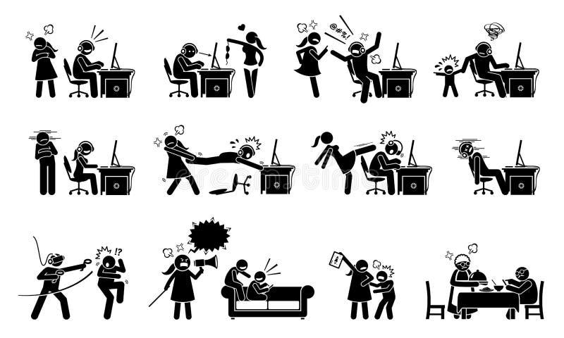 Hazardu nieład i hazardu nałóg royalty ilustracja