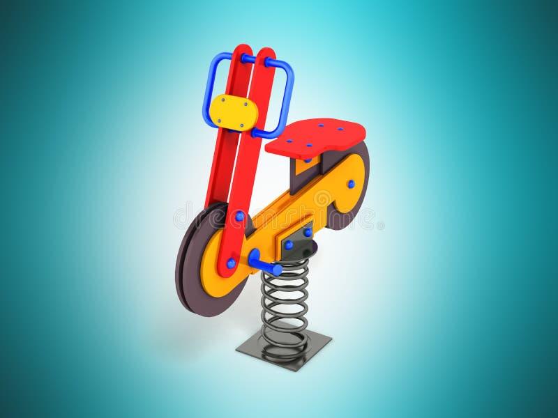 Hazardu przyciąganie dla dzieci na wiosny czerwonej błękitnej pomarańcze 3D ilustracji