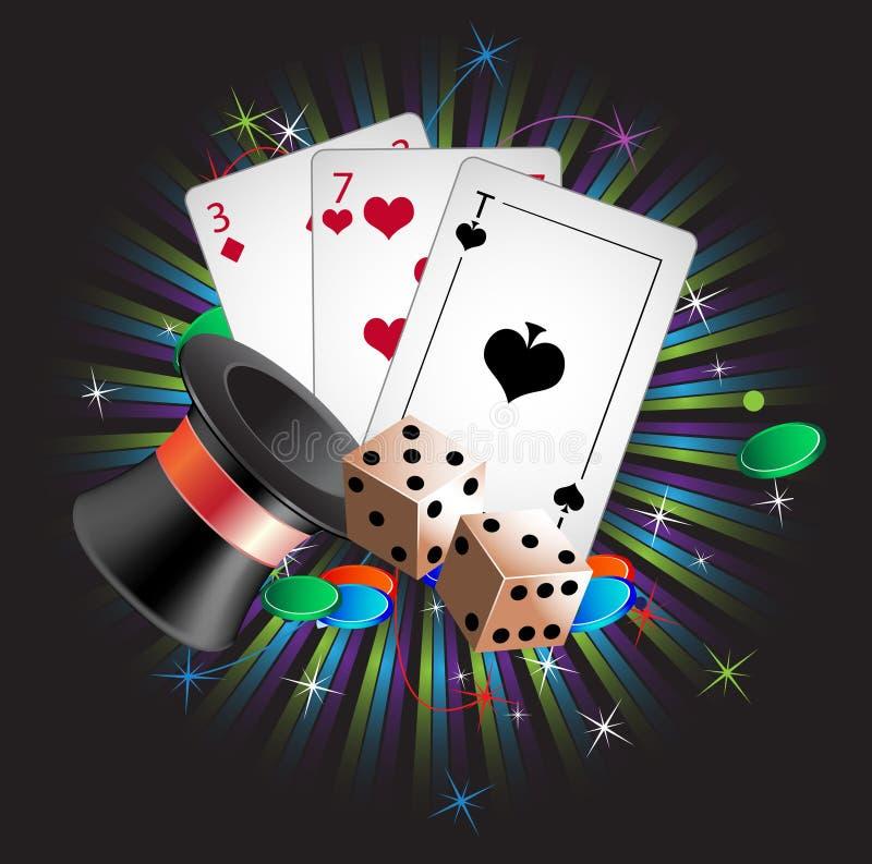 Hazardzistów atrybuty ilustracja wektor