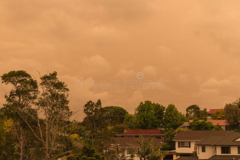 Haze from Australia`s bushfires hangs over North Shore in Auckland, New Zealand. New Zealand, North Island - January 5 2020: the view of haze in the sky  from stock photos