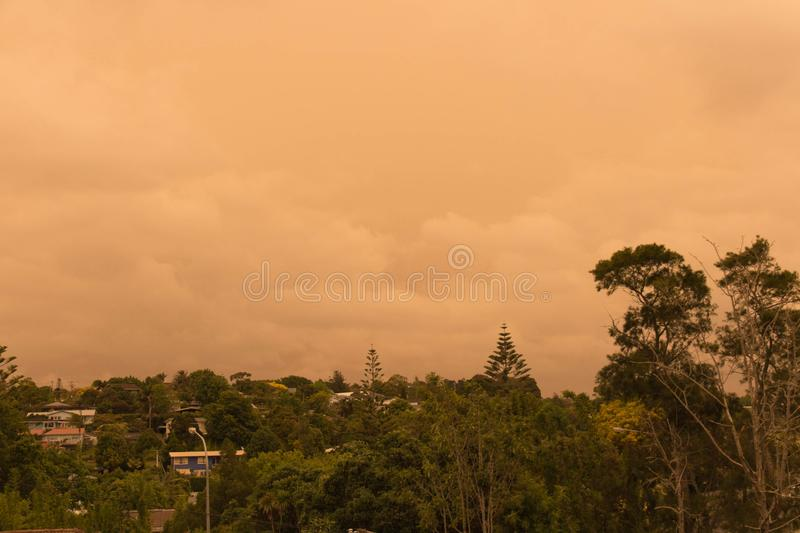Haze from Australia`s bushfires hangs over North Shore in Auckland, New Zealand. New Zealand, North Island - January 5 2020: the view of haze in the sky  from royalty free stock photos