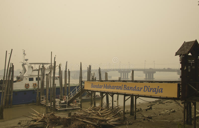 Haze hazard at Muar Malaysia. Malaysia is facing air pollution, haze from open burning at Indonesia. the pollution API index reached the highest 746 stock images