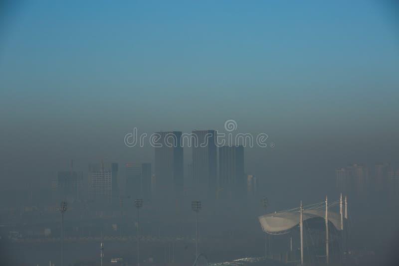 Haze heavier around Beijing. Beijing Air Pollution Draws Rare `Orange` Alert As Thick Haze Shrouds City,Jan.2, 2017 stock photo