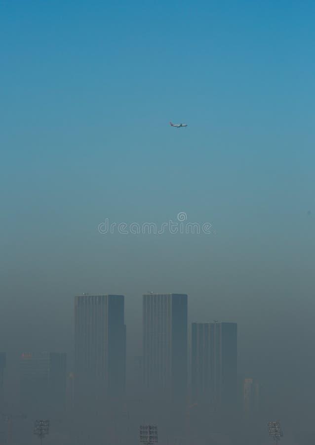 Haze heavier around Beijing. Beijing Air Pollution Draws Rare `Orange` Alert As Thick Haze Shrouds City,Jan.2, 2017 royalty free stock photo