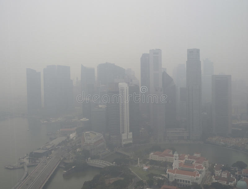 Haze over Singapore stock photos