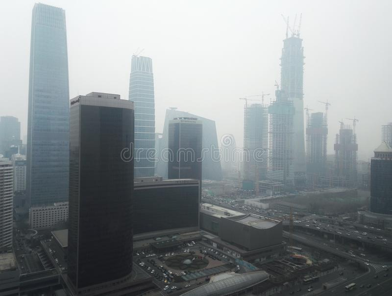 Haze pollution Beijing city royalty free stock photo