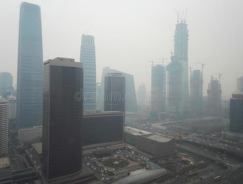 Haze pollution Beijing city 3 royalty free stock photo