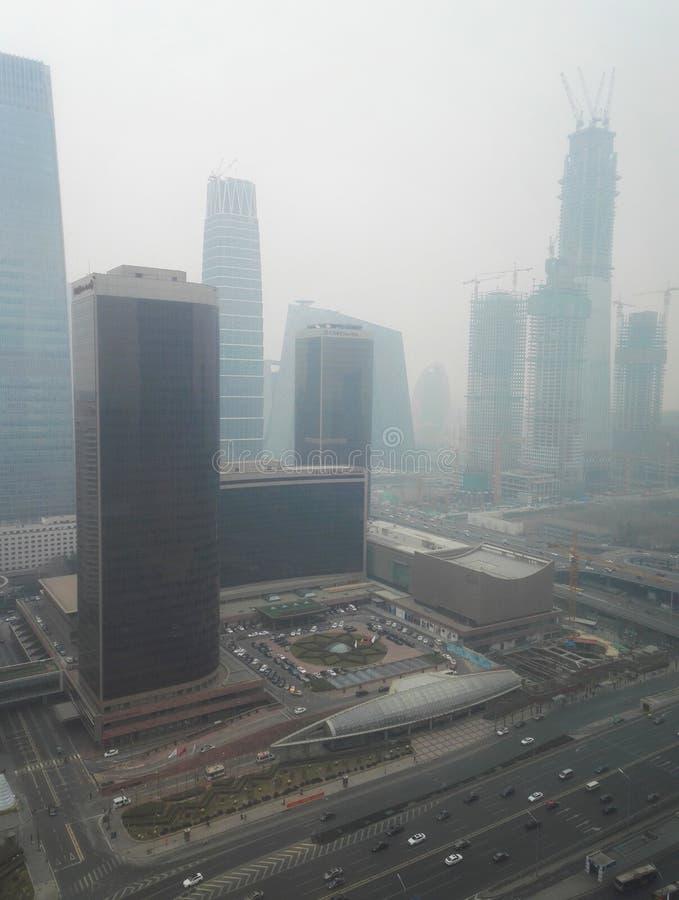 Haze pollution Beijing city 6. Beijing Air Pollution Draws Rare `Orange` Alert As Thick Haze Shrouds City stock photography