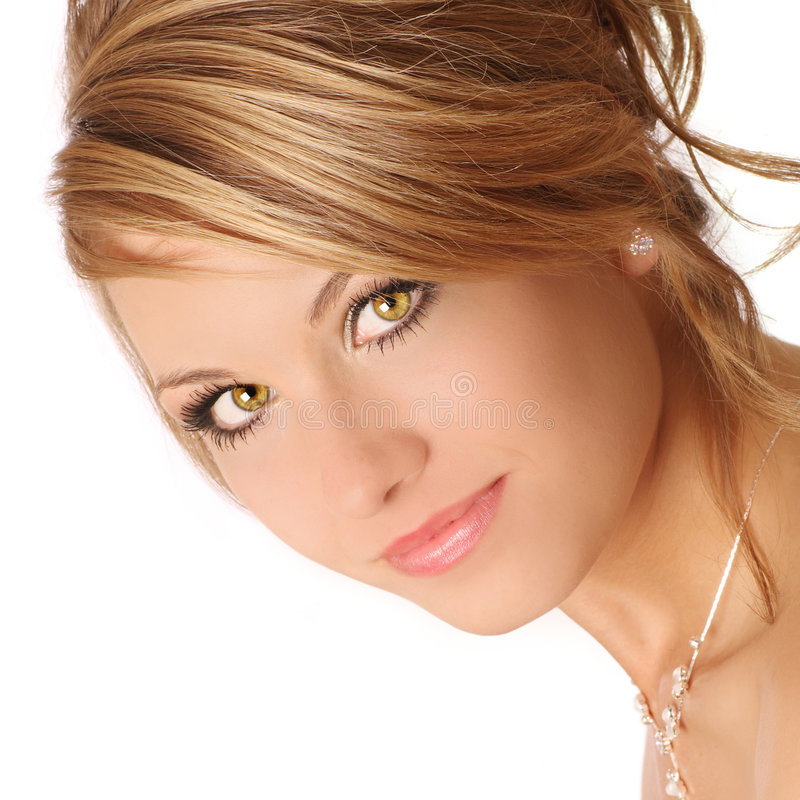 Hazel eyes. Beautiful hazel eyes, ready for the prom royalty free stock image