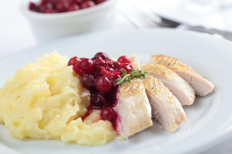 Hazel Grouse with mashed potato. Hazel Grouse meat with mashed potato and cranberry sauce royalty free stock photos