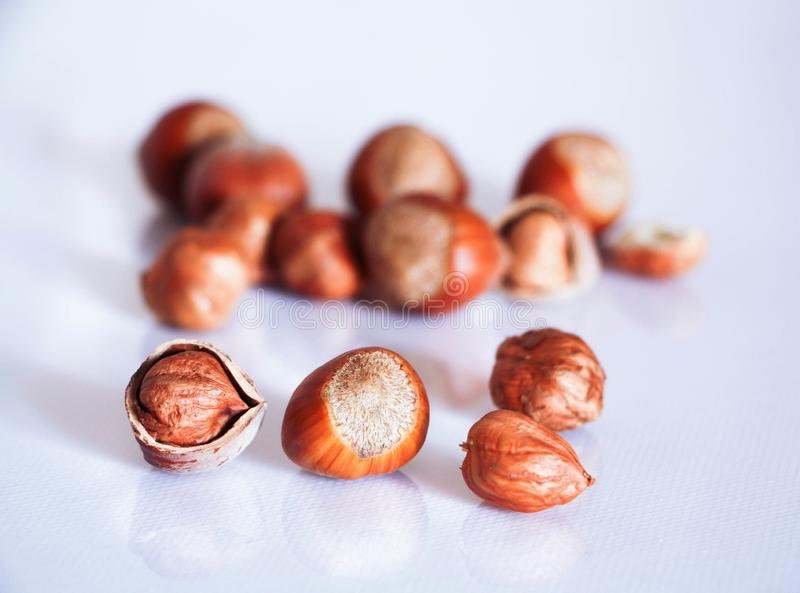 Hazel nuts whole and cracked opened isolated on white with a close-up stock photography