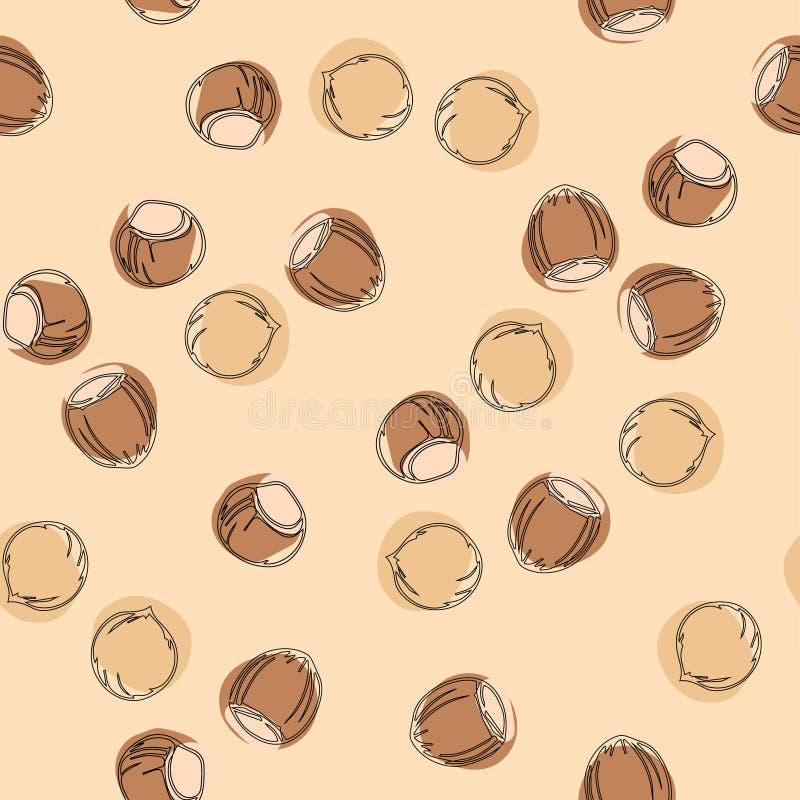 Hazelnoot naadloos patroon royalty-vrije illustratie