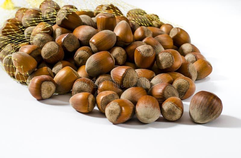 Hazelnoten Voedselachtergrond, fotobehang Nootmacro stock afbeelding