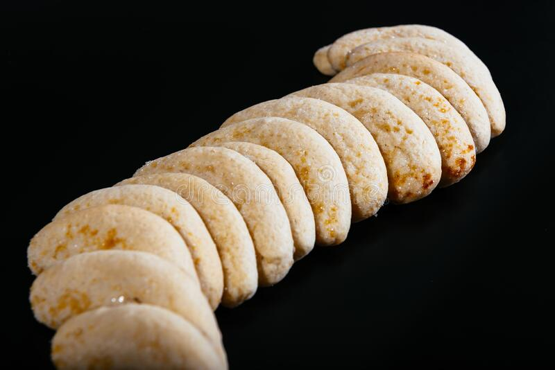 Hazelnut biscuits on the dark background royalty free stock images