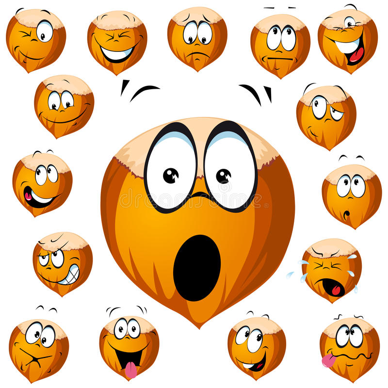 Download Hazelnut cartoon stock vector. Image of frown, shell - 26876895
