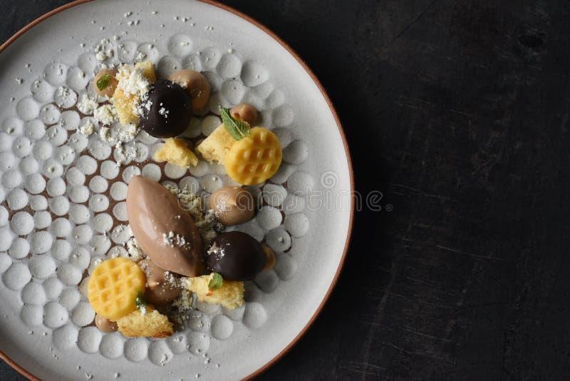 Hazelnut Dessert served with Ice Cream.  stock image