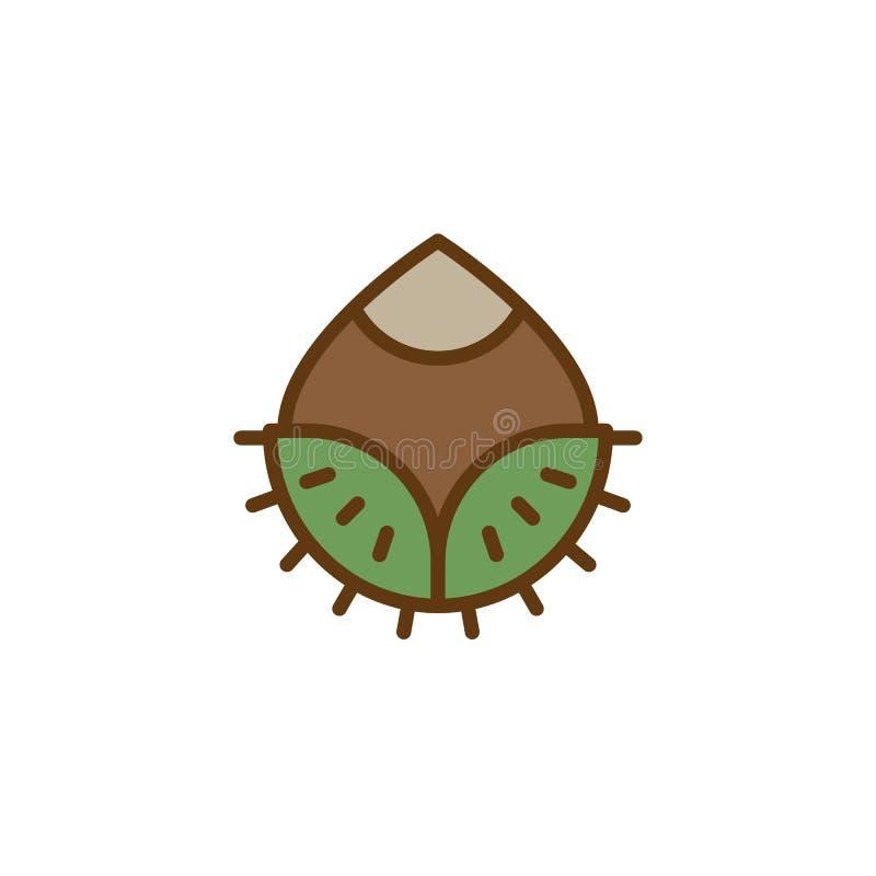 Hazelnut filled outline icon vector illustration