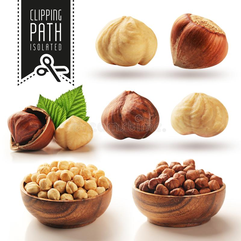 Hazelnut set with clipping path royalty free stock image