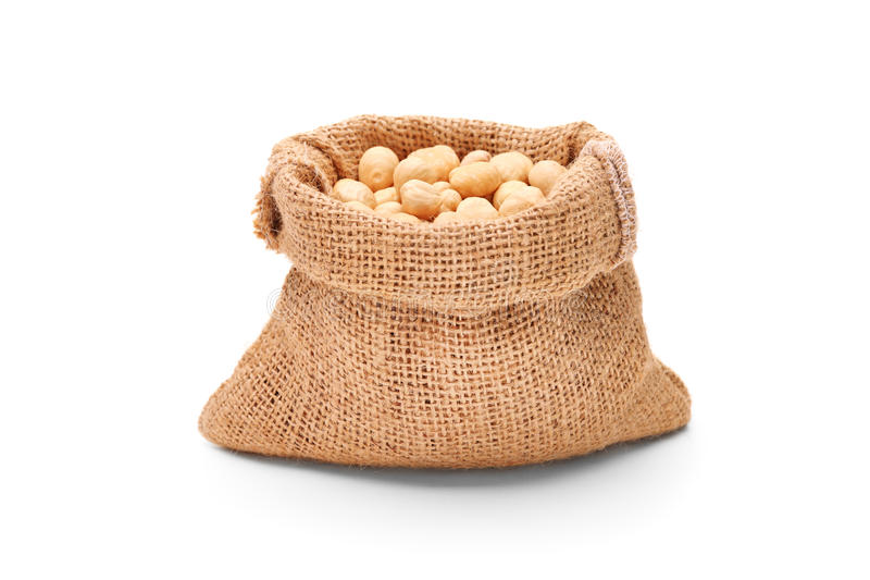 Download Hazelnuts in a bag stock image. Image of group, white - 25859375