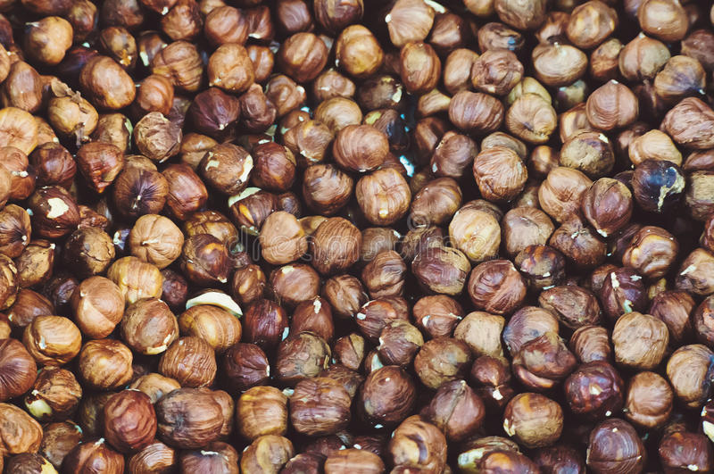 Hazelnuts. Food background, photo wallpaper. royalty free stock photo
